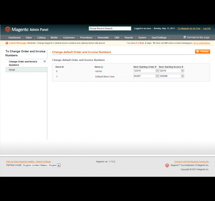 custom invoice and order numbers magento extension by savethemage