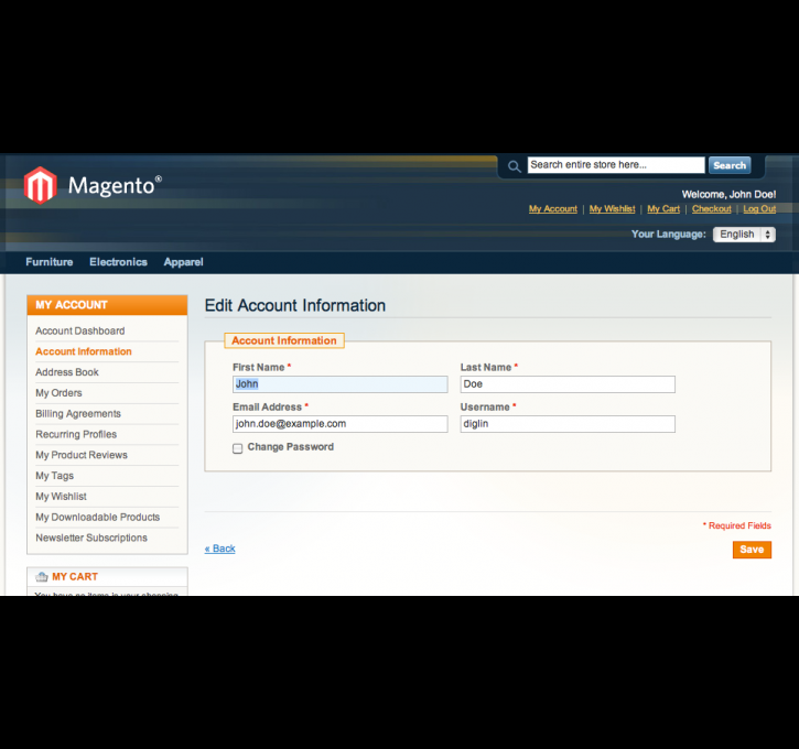 Username Support Login Register Checkout By Diglin Magento