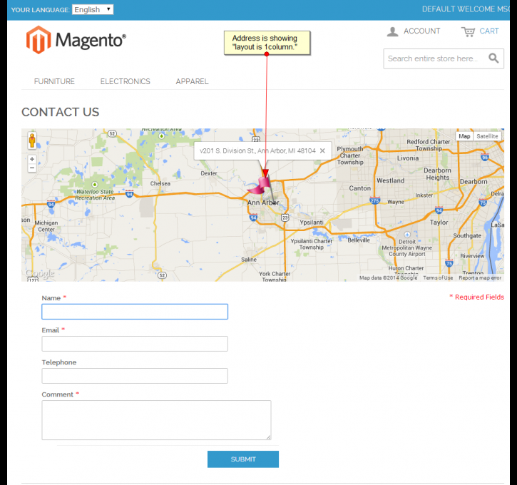 Default Contact Us Page With Google Map Magento Extension by