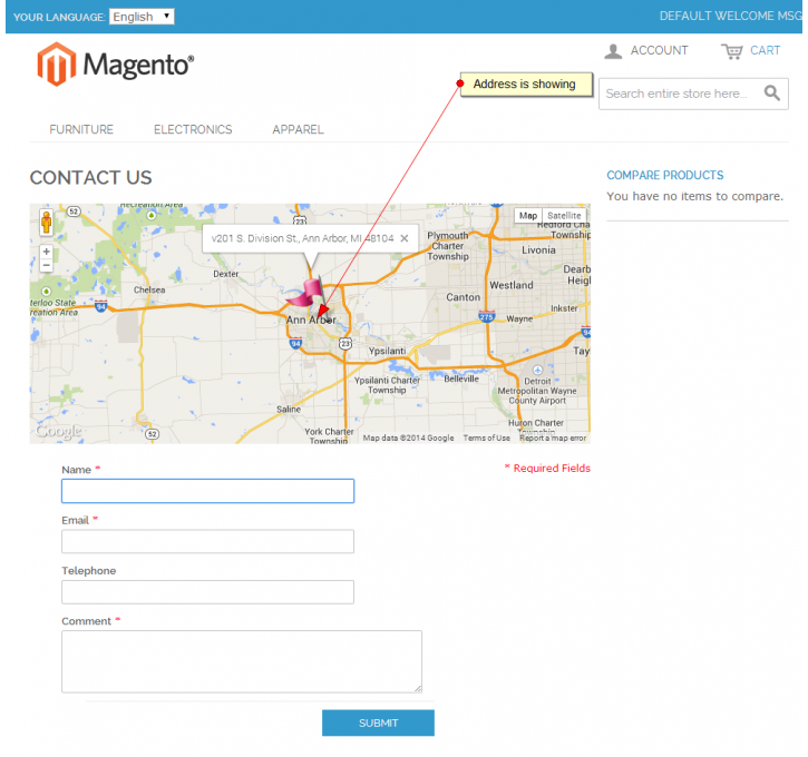 Default Contact Us Page With Google Map Magento Extension by Clarion ...