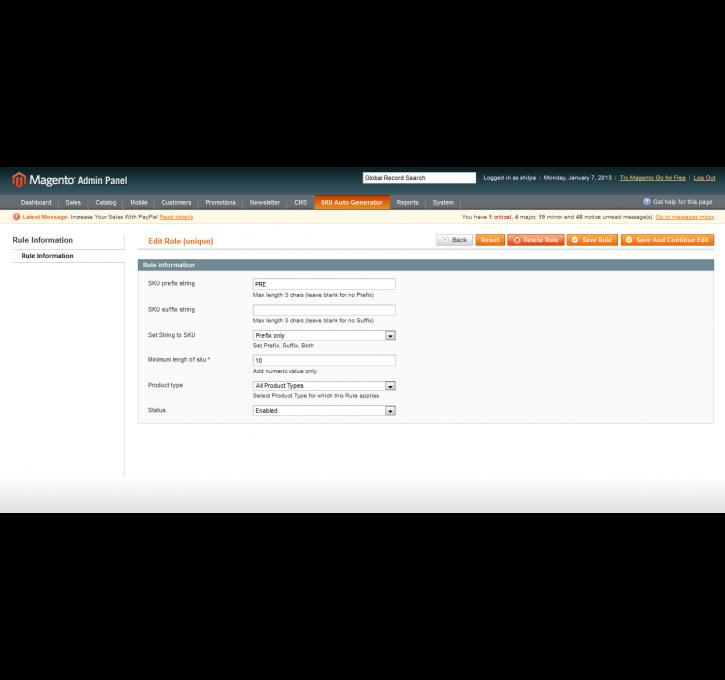 SKU Auto Generator Magento Extension by Neev | MageCloud net