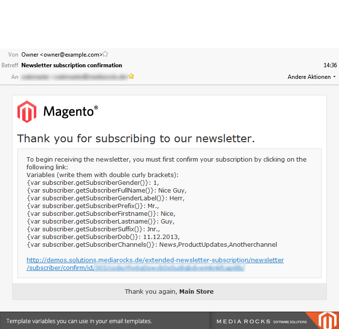 Extended Newsletter Subscription Magento Extension By Media Rocks - Magento newsletter templates