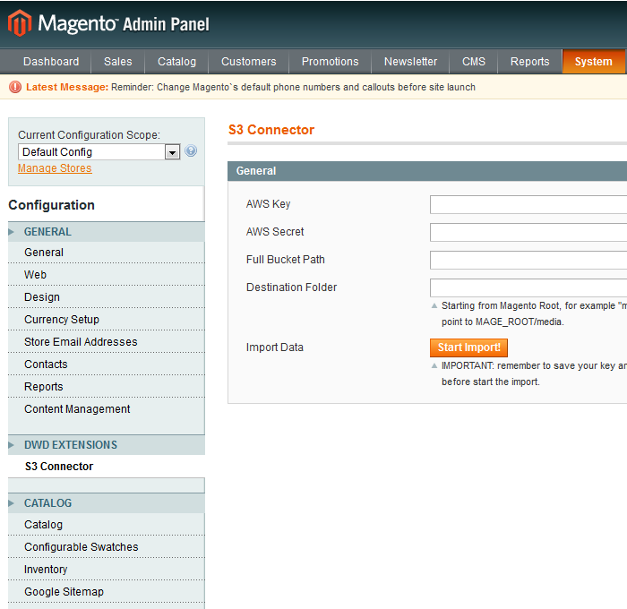 DwD - S3 Connector Magento Extension by DamianPastorini